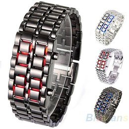 $enCountryForm.capitalKeyWord Canada - Men Women Lava Iron Samurai Metal LED Faceless Bracelet Watch Wristwatch Stainless Steel Novelty Item for Gift 093L