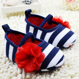 Flower Shoes Kids NZ - Wholesale- Newborn Infant Toddler Stripe Flower Crib Shoes Soft Sole Kid Girls Baby Prewalker Shoes
