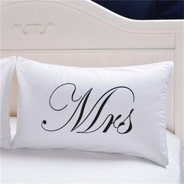 Pair Bedding Australia - MR MRS Decorative White Couple Pillow Case Throw Pillowcases Lovers Couple Gift One Pair Pillows Bedding Set Bedding Outlet