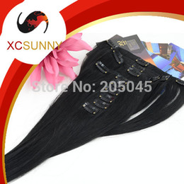 Discount african american hair extensions - XCSUNNY African American Clip In Human Hair Extensions #1 Black Straight 6A 90-130g set Brazilian Virgin Hair Clip In Ex