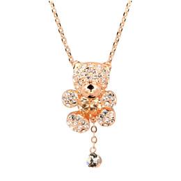 $enCountryForm.capitalKeyWord Canada - Wholesale-Top Quality Crystal Heart Bear 18K Rose Gold Plated Fashion Jewellery Nickel Free Pendant Necklace ZYN065 ZYN064