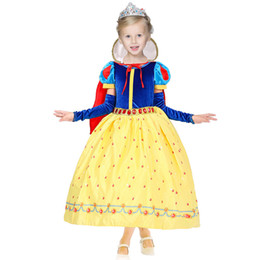 Chinese  Children Girls Snow White Princess Dresses With Cape Kids Party Ball Gown Long Cosplay Dancewear Christmas Halloween Clothing HH-D03 manufacturers