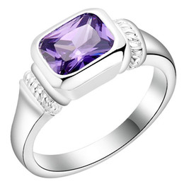 PurPle amethyst white gold ring online shopping - Plated Sterling Silver Jewelry New zircon jewelry ring Korean purple white stone jewelry