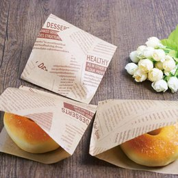 wholesale packaged sandwich 2020 - 12x12cm Bakery Packaging Food Oilproof Paper Bag Sandwich Puff Donut Bread Kraft Food Baking Supplies ZA3246 cheap whole