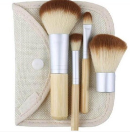 bags goat hair Canada - Makeup Brushes 4Pcs Set Kit Beautiful Professional Bamboo Elaborate make Up brush Tools With Case zipper bag button bag Free DHL
