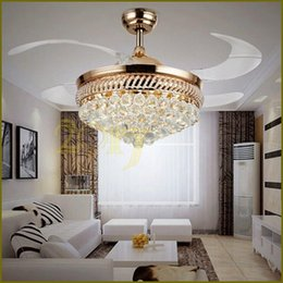 Retractable ceiling lights canada best selling retractable ceiling 42 inch modern led crystal ceiling fans 42inch remote control chandelier ceiling fan light with 4 invisible retractable blades pendant lamp aloadofball Images
