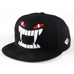 Outdoor Cap Wholesale UK - Wholesale-Fashion outdoor baseball caps Hip-hop sun cap personality tooth design women's hats embroidery snapback