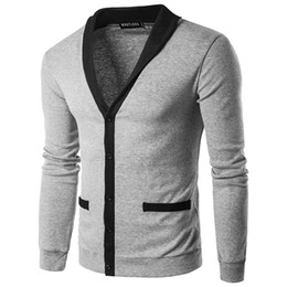 Chinese  Cardigan Men Hot Jackets New Design Coats Mans V-Neck Fashion Man Coat High Quality Single-Breasted Cotton Cardigans Contrast Color Men Tops manufacturers