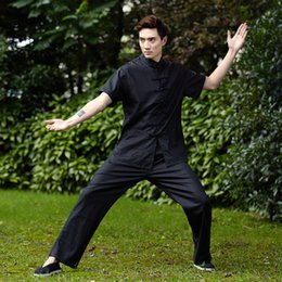 Uniformes Kung Fu Livraison Gratuite Pas Cher-Livraison gratuite martial arts chinois kung fu set hommes chinois Tai chi costume short shirt + pants Lin kungfu uniforme 4 couleur 2525