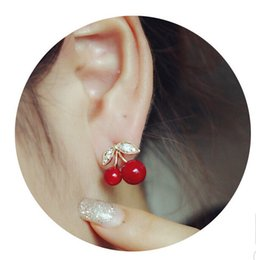 Red Lovely Flowers Canada - Stud Earrings Fashion Lovely Red earrings rhinestone leaf bead stud earrings for woman jewelry diamante Earing Red Cherry Ear Rings Free DHL