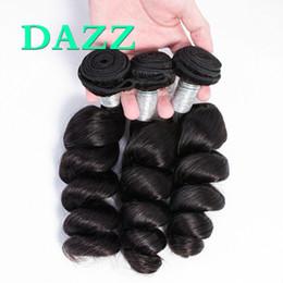 Wet Wavy Human Hair Extensions NZ - DAZZ Loose Wave 3 Bundles Brazilian Virgin Hair Unprocessed Remy Hair Extensions Spiral Curly Wet And Wavy Human Hair Bundles Weave Wefts