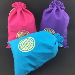 Discount chinese wholesale shoes - Extra Large Embroidery Happy Drawstring Bag Linen Cotton Shoe Bags for Travel Storage Pouch Bra Underwear Chinese style