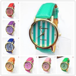 2018 band cases New Geneva Leather bands Stripe face golden cases women ladies girls fashion Platinum good quality watches 100pcs lot ch
