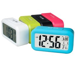 2015 New Large LCD Screen Digital LED Alarm Clock Multri Color LED Electronic Table Clock Multi-function With Temperature Calendar