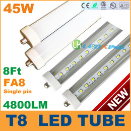 Ce Fluorescent Lighting Canada - Sale 45W T8 LED Tube Light FA8 Single pin 8ft 2400mm LED fluorescent bulb High brightness 4800LM AC85-265V CE FCC UL DLC 50+