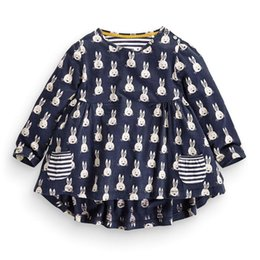 prints color 2019 - Girl INS Fashion Princess Little rabbit dot stripe Dress 2016 new Children Cartoon Print Long sleeve Dress Children Clot