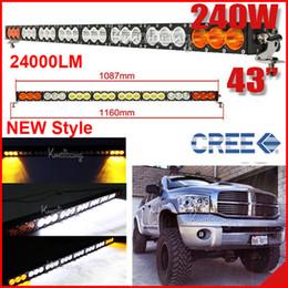 "amber flood lights 2019 - 43"" 240W CREE LED Driving Work Light Bar Orange Amber + White Clear Lens Offroad SUV ATV 4WD 4x4 Spot   Flood   Com"