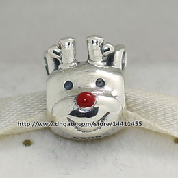 Reindeer Nose Canada - 2015 Winter 925 Sterling Silver Red-Nosed Reindeer Charm Bead with Red Enamel Fits European Pandora Jewelry Bracelets & Necklace