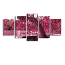 red tree life painting UK - 5 pieces high-definition print Red trees canvas oil painting poster and wall art living room picture PL5-141