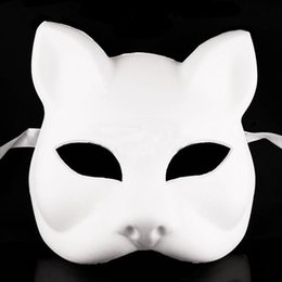 wholesale blank face mask NZ - 2017 Creative Unpainted Blank Masquerade Mask DIY White Fox Cat Face Mask Halloween Party Supplies