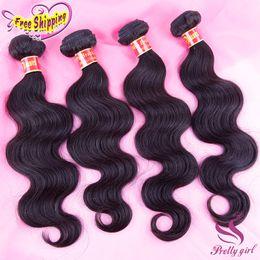 Brazilian Virgin Human Hair Bundle 5pcs Canada - Brazilian Virgin Human Hair Weave Peruvian Malaysian Indian Cambodian Body Wave Wavy Bundles Natural Black Remy Hair Extensions 3 4 5Pcs Lot