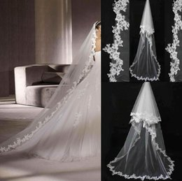 Three layer long veil online shopping - 2015 Ivory white Bridal Veils with Lace Flower Edge Chapel length long style two layers meters Wedding Dresses Veil Bridal Gown sj911