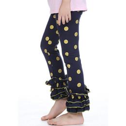 Baby Cotton Winter Tights Pants UK - baby leggings navy gold polka dot cotton knitted girls pant double ruffled baby girls toddler pants