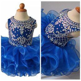 Robe Cupcake Baby Boy Girl Pas Cher-Royal Bleu Cristal Perlé 2018 Filles Formelle Pageant Cupcake Robes Infant Tutu Robes Enfant Bébé Filles Organza Ruffled Mini Party Porter