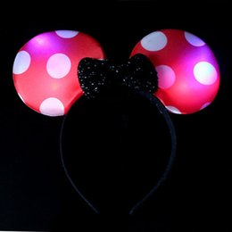 Barato Arco Cabeça Minnie-2016 Minnie Mickey Mouse Orelhas Light Up Bow Headbands Piscando LED Partido Favors Cabelo Acessório LED Partido Favors Acessórios Cabelo Led Rave Toy