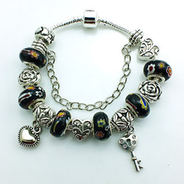 Crystal Sliders Canada - Hot Selling Europe Style Plating Ancient Silver Key Charm Bracelet For Men Crystal Black Murano Ceramic Beads DIY Bracelets Bangles Jewelry
