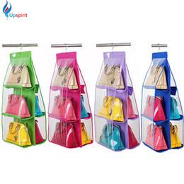 Discount purse bag rack - Wholesale- Hot Sale Pocket PVC Storage Bag Closet Wardrobe Rack Hangers Holder For Fashion Handbag Purse Pouch Bags Orga