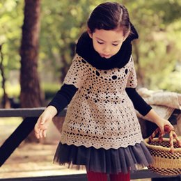 Vestidos Para Chica Crochet Baratos-Everweekend Girls Crochet Knitted Knitted Ruffles Dress Ahueca hacia fuera los niños lindos Autumn Spring Fashion Dresses