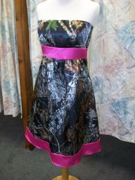 Patterned Prom Dresses Canada - Camo Prom Dresses Strapless Fuchsia Belt and Hem Camouflage Homecoming Dresses 2015 Modest Wedding Bridesmaid Dresses Actual Image