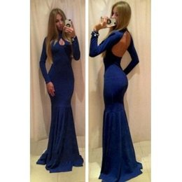 Robes Sans Dos À Col Pas Cher-Royal Blue Manches longues Backless Mermaid Keyhole Simple Robes de bal Robe col haut 2016 Cheap Price High Quality