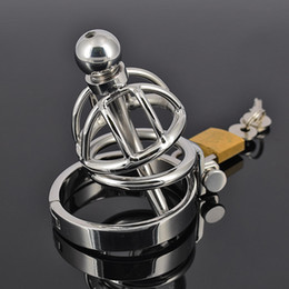$enCountryForm.capitalKeyWord Canada - Male Chastity Device Stainless steel Cock Ring With Urethral Sounds Penis Plug Fetish Anal Hook Bondage Gear Sex Toy Cage