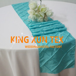 wedding table cloths wholesale Australia - New Design Taffeta Pintuck Table Runner Fit On Table Cloth For Wedding And Event Decoration Free Shipping