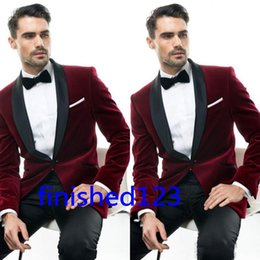 Classic Suit Red Navy Canada - Classic Design Dark Red Velvet Groom Tuxedos Groomsmen Best Man Suit Mens Wedding Suits Bridegroom Business Suits (Jacket+Pants+Tie) NO:681