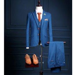 White Work Vest Canada - Customize Top Quality Men's Suit 2017 Single Breasted Suits+Vest+Pants Set Studio Clothes Stage Host Work Blazer