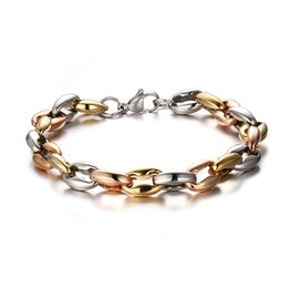 mens rose gold chain bracelet Canada - 2015 Newest Top Selling Mens Silver Gold Rose Gold Tri-color Stainless Steel Collar bone Link chain Bracelet Heavy Huge 8.5''