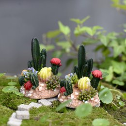 Cactus Decor Canada - 2pcs Mini Totoro Pot Decor Cactus miniatures fairy garden moss terrarium decor resin crafts bonsai microlandschaft Jardin miniatura de resin