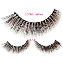 Soft False Eyelashes Canada - 3D-14 Handmade Natural Long False Eyelashes Soft Fake Eye Lash 3D silk Eyelashes 3Pairs set