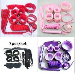 Juguetes sexuales 7 piezas kit, 4 juguetes eróticos fetiche bondage fetish de cuero del color Juguete del sexo para la pareja Producto del sexo de los muebles para la pareja QQ006 en venta
