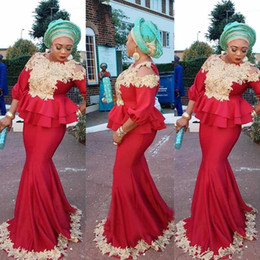 Wholesale Aso Ebi Mermaid Evening Dresses Black Girls Long Sleeves Peplum African Prom Dress With Appliques Party Wear