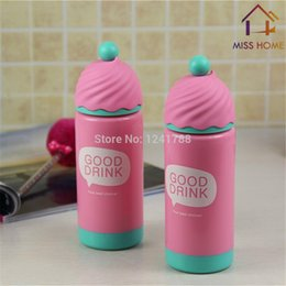 water bottles children Canada - Plastic Water Bottles Lady And Children Double Cups With Lid In Pink Color (MH-1047)