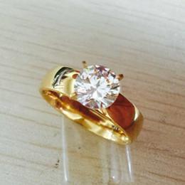 Large cz rings online shopping - Large Zircon CZ diamond k gold plated L Stainless Steel wedding finger rings men women jewelry