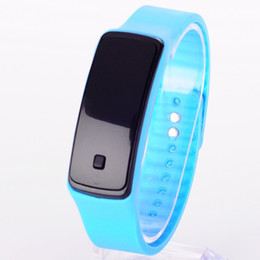 New Watch Touch Screen Canada - 10pcs New Fashion wristband mirror plane Touch Screen LED watch men&women wristwatch Sport Candy Color Silicone children Digital Watche