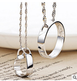 circle shaped beads Canada - 925 Sterling Silver Heart Pendant Korean male lovers circle concentric edge female heart-shaped pendant necklace Round Pendant Jewelry Whole
