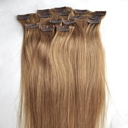 "Clip Human Hair Extensions Remy 24 NZ - Brazilian Virgin Hair Extensions 7pcs #27 Strawberry Blonde Clip In Human Hair Extension 10-30"" Remy Straight Hair 6A Unprocesed Virgin Hair"