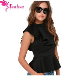 Barato Colete Assimétrico-Dear Lover Office Ladies Summer Fashion Clubwear Asymmetric Ruffle Side Peplum Tops Mulheres sem mangas Tanks Vest Blusas LC25845 q1113