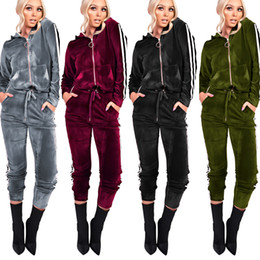Barato Ternos De Suor De Veludo-Velvet Two Piece Set Tracksuit para mulheres Elegant Top e Pants Set 2017 Womens Casual Sweat Suits Fitness Autumn Winter Outfits